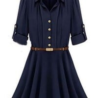 Graceful Long Sleeve Chiffon Shirt Dress - OASAP.com