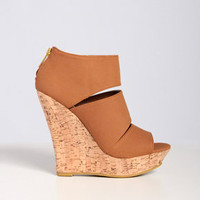 Sleek Triple Bar Cork Wedge in Camel