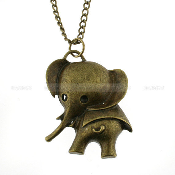 Retro necklace elephant necklace rocker necklace by mosnos on Etsy