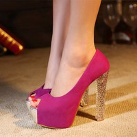 Sequins Peep Toe Thick Heel High Heel Shoes 022640