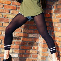 Double Strip Footless Leggings