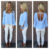 Powder Blue Daisy Back Blouse