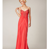 Mignon Spring 2014 Dresses - Poppy Beaded V-Neck Long Prom Dress