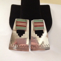 Navajo Coral Inlay Earrings Benson Sam Gaspeite Pink Red Coral Sterling Silver BS Vintage Southwestern Tribal Native American Jewelry Gift