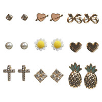 Pineapple & Daisy Button Earring 9-Pack | Wet Seal