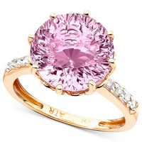 14k Rose Gold Pink Amethyst (6-3/4 ct. t.w.) & Diamond Accent Ring