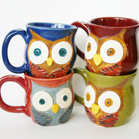 Mr Owl Ceramic Mug Choose Your Color Retro by BackBayPottery