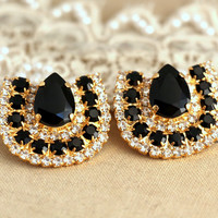 Statement stud earrings rhinestone black and white bridal earrinsg, trendy - 18k gold plated over brass rhinestone earrings, classic jewelry