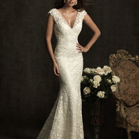 Ivory Lace & Charmeuse Deep V Neckline Cap Sleeve Wedding Gown - Unique Vintage - Cocktail, Evening, Pinup Dresses
