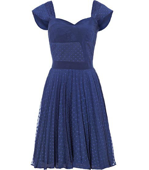 REISS Womens Melia French Navy Pleated Panel Dress