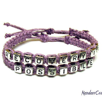 Recovery Is Possible, Recovery Jewelry in Light Purple Macrame Hemp, Ready to Ship - Only One Available