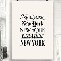 "New York Typographic Wall Art Decor ""New York"" Typography Poster PRINTABLE DOWNLOAD"
