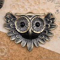 Large Vintage Bronze Owl Pendant Very High by SunAndMoonCraftKits