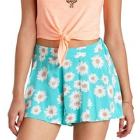 FLOWY DAISY PRINT HIGH-WAISTED SHORTS