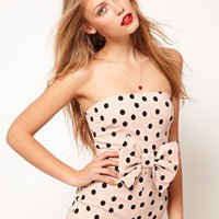ASOS | ASOS Bandeau Playsuit in Spot with Bow at ASOS