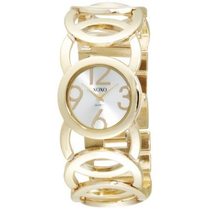 XOXO Women&#x27;s XO5211 Silver Dial Gold-tone Open Link Bracelet Watch - designer shoes, handbags, jewelry, watches, and fashion accessories | endless.com