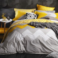 Marley Yellow Quilt Cover Set by Logan & Mason - Just Bedding