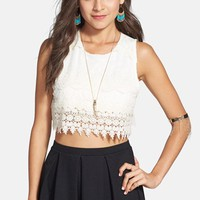 Painted Threads Crochet Trim Crop Tank (Juniors) | Nordstrom