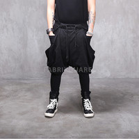Mega Wing Pocket Drop Crotch Harem Jersey Pants