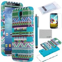 Pandamimi ULAK(TM) 3-Piece Hybrid High Impact Tribal Case Silicone for Samsung Galaxy S4 IV i9500 with Screen Protector and Stylus(cleaning cloth with ULAK Logo) (Green + Blue)
