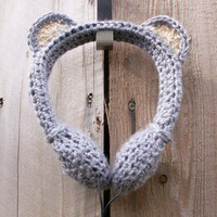 Gray Koala Bear Crocheted Headphones