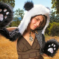 Handmade Faux Fur Panda Hooded Hat with Hand Pockets