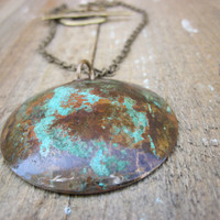 Earthy Patina Necklace Copper Rivted disc by CopperTreeArt on Etsy