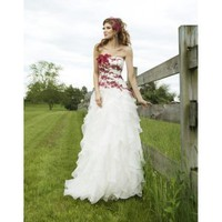 Graceful Strapless Applique Accents Lavish Ruffle Organza A-Line Beautiful Wedding Dress - Basadress.com
