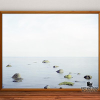 Rocks and Ocean Photography, sea photo print, fine art, horizontal wall art, lake wall decor, river home decor, 8x10, 12x15, 16x20