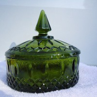 Vintage Green Cut Glass Round Candy Dish | slaminsami - Glass on ArtFire