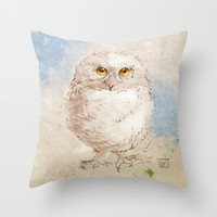 Baby Horned Owl Throw Pillow by Jonathan Wilson