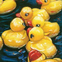 Mounted giclee print of a rubber ducky painting by Lesley Spanos | SpanosStudio - Reproduction on ArtFire