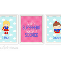 Superhero Prints - Every Superhero Needs A Sidekick Quote - Boys Room - Brothers or Sisters Print - Nursery Decor - Comic Book - Kids Room