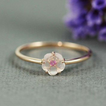 Pink Gold Rose Quartz Ruby Flower Ring | tooriginal - Jewelry on ArtFire