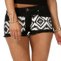 Black and White Geometric Cut Off Shorts