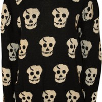 PaperMoon Women's Plus Size Skull Pattern Long Sleeve Sweater - Black - US 16-18 (UK 20-22)