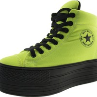 Maxstar High-Top Taller Insole Dark Color Platform Zipper Canvas Sneakers Shoes Green 8 B(M) US Womens