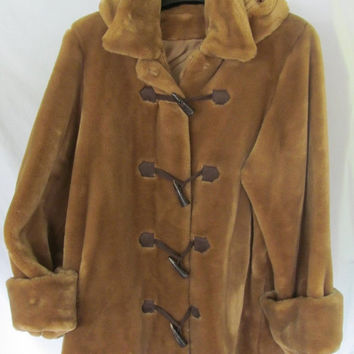 Brown Teddy Bear Fur Jacket Toggle Button from ...