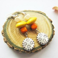 Wood Yellow Orange Beads Antique Silver Round Flower Disc Earrings | LittleApples - Jewelry on ArtFire