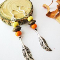 Yellow Brown Orange Wooden Beads Antique Silver Leaves Earrings Beach | LittleApples - Jewelry on ArtFire