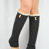 Knitted boot socks DARK GREY legwarmers Lace leg warmers crochet lace socks trim buttons leg warmers lace legwarmers Grey Leg warmers cute