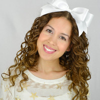 White Headband Bow Satin Ribbon Headband cheer bow cheer headband Oversize hair bow huge hair bow statement headband gothic lolita bow girly