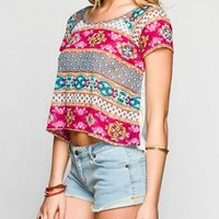 Full Tilt Ethnic Print Hachi/Boho Lace Womens Top Multi  In Sizes