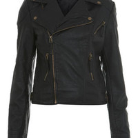 Black Seam Detail Biker Jacket