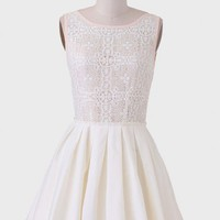 Champagne Tasting Lace Accent Dress