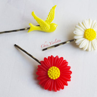 3 Hair Pins, Bobby Pins,Flowers Sparrow set,Antique Brass,Yellow Red, Spring Fashion, decorative hair pins, Swallow Bird Cabochon Resin