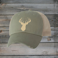 Country Girl ® Ivory Deer Head Trucker Hat