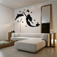 Wall decal decor decals art mermaid girl fish tail sea star dolphin bubbles ocean story design mural bedroom (m1012)