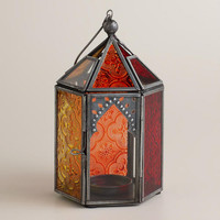 Warm Multicolor Sabita Embossed Glass Tabletop Lantern - World Market