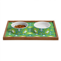 Loni Harris Summer Green Ikat Pet Bowl and Tray